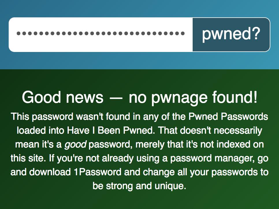 Image de l'interface annonçant que le mot de passe n'est pas compromis