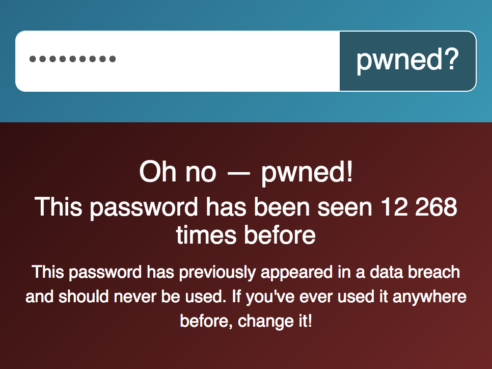 Image de l'interface annonçant que le mot de passe est compromis